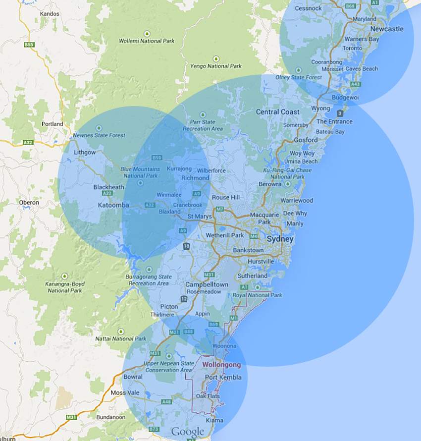 Central Coast Australia Map.Find Your Funeral Videographer Photographer Fva Expert Here